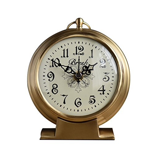 CLOCK HAOFAY Desktop, European Style Living Room On Vintage Copper Table, Bedroom Bedside Battery Powered Quartz by CLOCK
