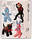 Mccalls 1443 Stuffed Sock Toys, Monkey, Rabbit, Cat, Doll Sewing Pattern Vintage Unused