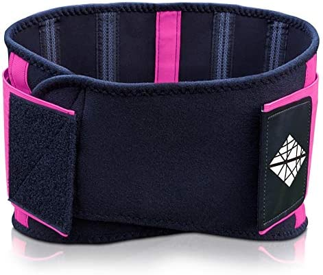 NeoHealth Lower Back Brace   Lumbar Support   Wrap for Recovery, Workout, Herniated Disc Pain Relief   Waist Trimmer Weight Loss Ab Belt   Exercise Adjustable   Breathable   Women & Men   Pink S 3