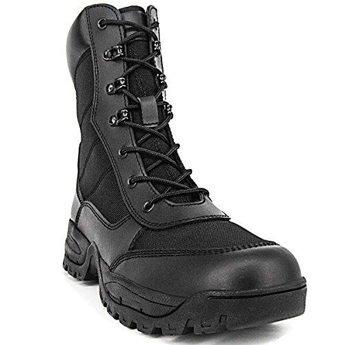 Breedeway Heren 8 Inch Militaire Tactische Laarzen Volnerfleer Kracht Combat Laarzen Outdoor Werk Dienst Waterbestendig Laarzen Met Zijrits Zwart