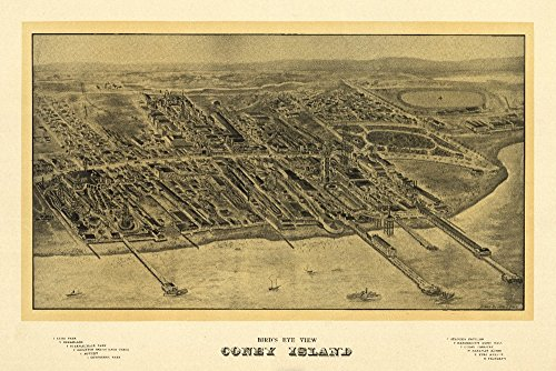Coney Island, New York - Panoramic Map (24x36 SIGNED Print Master Giclee Print w/ Certificate of Authenticity - Wall Decor Travel ()