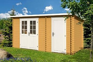 Jardín Casa Gloria F 28 bloque casa 445 x 200 cm madera hogar 28 mm - Cobertizo para: Amazon.es: Jardín