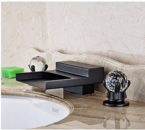 Gowe Widespread 3pcs Waterfall Spout Bathroom Sink Faucet Double Crystal Handles Oil Rubbed Bronze 2