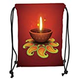 Custom Printed Drawstring Sack Backpacks Bags,Diwali,Tribal Religious Art Celebration Candle Fire with Beams and Paisley Art Print Decorative,Orange Yellow Soft Satin,5 Liter Capacity,Adjustable Strin