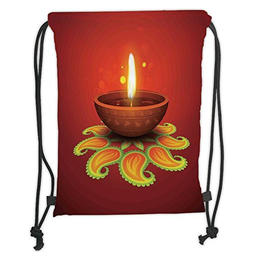 Custom Printed Drawstring Sack Backpacks Bags,Diwali,Tribal Religious Art Celebration Candle Fire with Beams and Paisley Art Print Decorative,Orange Yellow Soft Satin,5 Liter Capacity,Adjustable Strin by iPrint