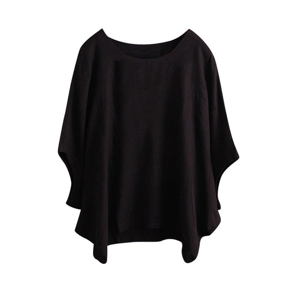 iLOOSKR Vintage Women's Shirt Solid Color Irregular Short Sleeve T-Shirt Blouse(Black,M)
