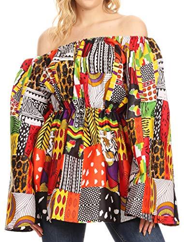 - Sakkas 2230 - Mela Women's Long Sleeve Peplum Off Shoulder Blouse Top in African Ankara - 146-Multi - OS