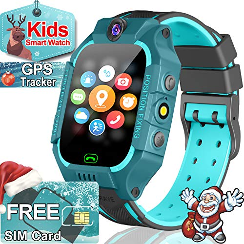 Smart Watch for Kids GPS Tracker for 3-12 Boys Girls with SIM CARD - Two Way Call Kids Smartwatch - SOS Safety School Mode Camera Games Wearable Phone Watch Birthday Christmas Holiday Gifts Toy