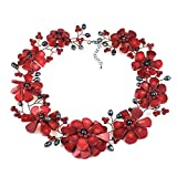 AeraVida Copper Wire Reconstructed Red Coral with Cultured Freshwater Pearl Floral Collar Necklace