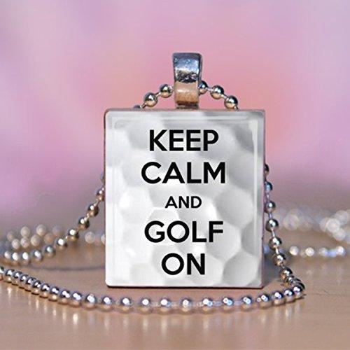 Golf Scrabble Tile Pendant Necklace - Wearable Art Charm ()
