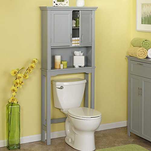 [해외]RiverRidge 홈 제품 서머셋 컬렉션 Painted Grey MDF Spacesaver Cabinet ...