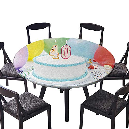 (Premium Round Tablecloth Joyful Occasion Homemade Cake Candlestick Balloons Colorful Stars Everyday Use 55