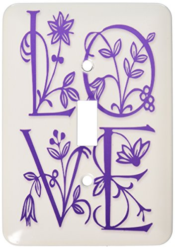 3dRose lsp_30036_1 Love Floral Text Purple Toggle Switch -