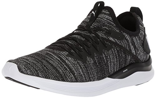 PUMA Men's Ignite Flash Evoknit Sneaker, Black-Asphalt White, 10.5 M US