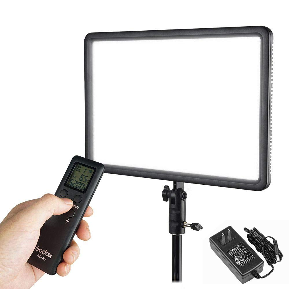 Godox LEDP260C CRI95+ TLCI94+ 30W Ultra-Thin Lightweight Adjustable LED Video Light, 3300K-5600K Continuous Lighting Panel with RC-A5 Remote Control Compatible for DSLR Cameras,Camcorders,Shooting by Godox