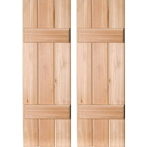 "RWB12X026UNW Exterior Three Board Real Wood Western Red Cedar Board-N-Batten Shutters (Per Pair), Unfinished, 12""W x 26""H"