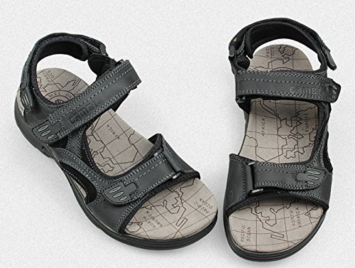 Strap Black Velcro Leather Chickle Sandal Men's ABYaqHwW6