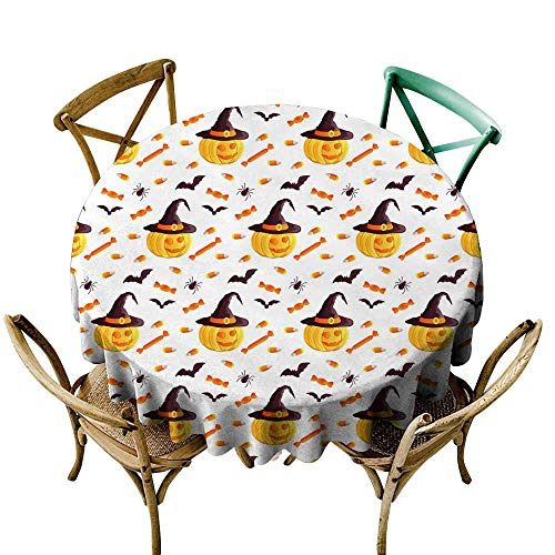 round tablecloth black Festive seamless pattern Halloween characters jack o lantern witch hat bat spider corn candy Vector illustration on a white background Usable for design packaging wallpaper text ()