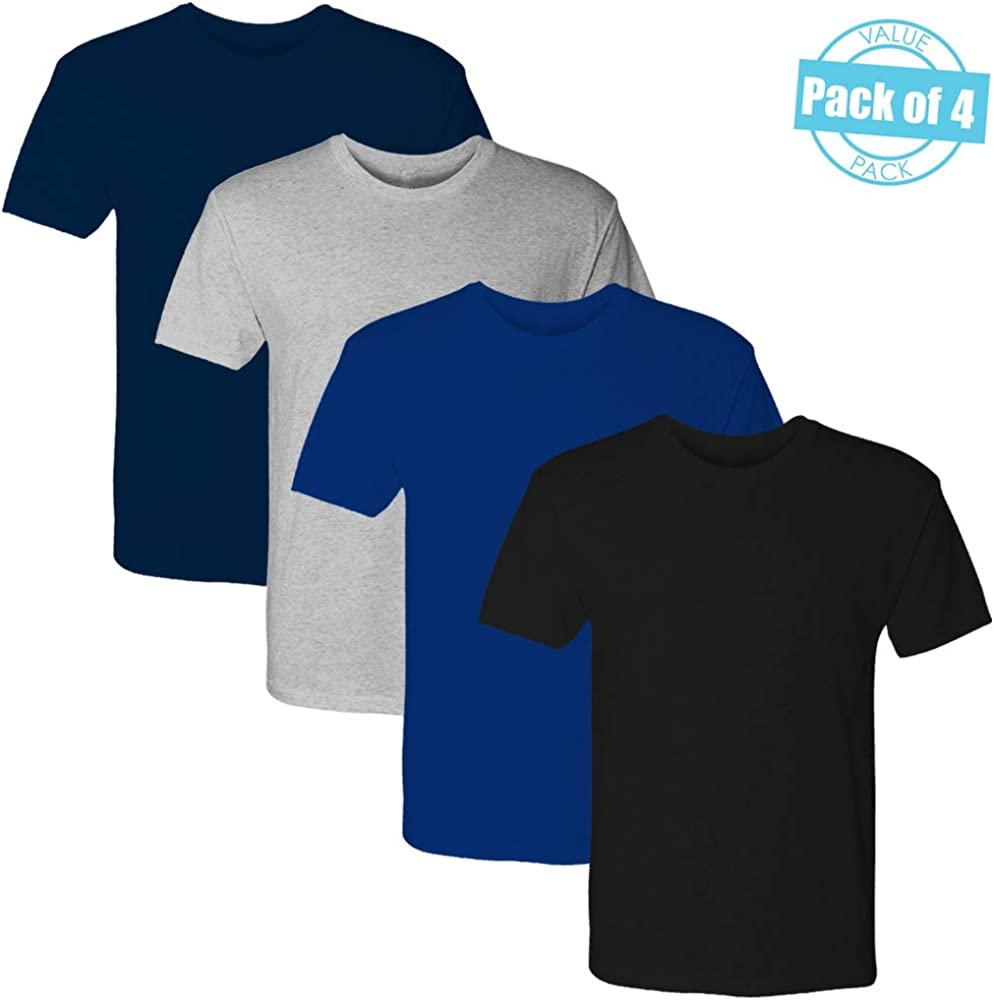 FSD Basic Plain Solid Crew Neck Short Sleeve T-Shirts for Boys Youth Sizes (Value Pack of 4)