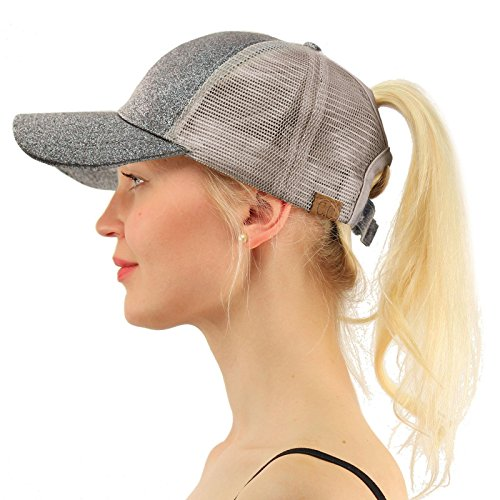 C.C Ponytail Messy Buns Trucker Ponycaps Plain Baseball Visor Cap Dad Hat Glitter Gray (Gray Jeep Hat)