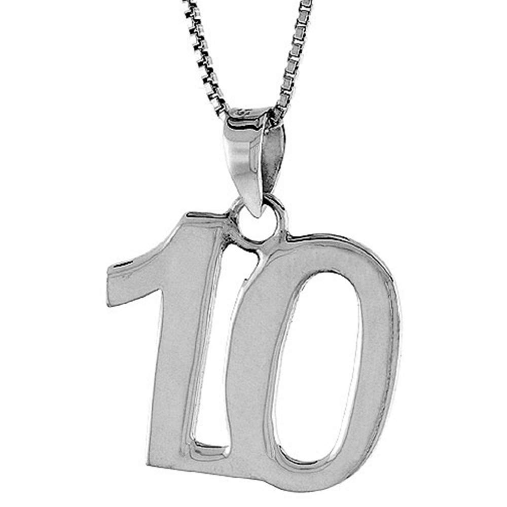 2mm Curb Chain Sterling Silver Number 10 Necklace for Jersey Numbers /& Recovery High Polish 3//4 inch