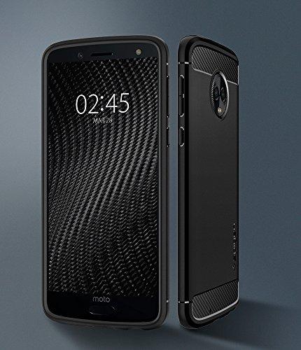 Spigen Rugged Armor Moto G6 Case Flexible Durable Shock Absorption Carbon Fiber Design Motorola Moto G6 (2018) - Black by Spigen (Image #1)