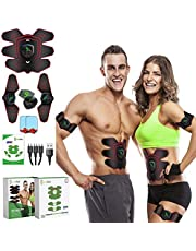 GreenMoon Elektrostimulator voor spieren, massagegordel, stimulator voor buikspieren, EMS, stimulatieapparaat voor vrouwen en mannen, voor buik, armen, benen, rug, billen...