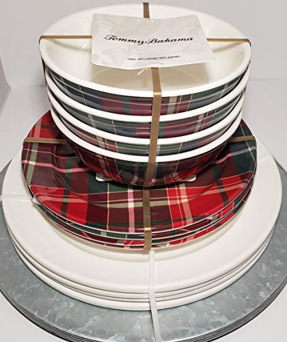 Tommy Bahama Tartan Plaid Dinnerware Set Brand New Four Heavy Aluminum Charger Plates, Four Melamine 11
