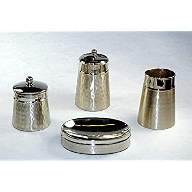 Hammered Two Tone Set of Four Soap Dish, Tumbler, Tooth Brush Holder and Canister