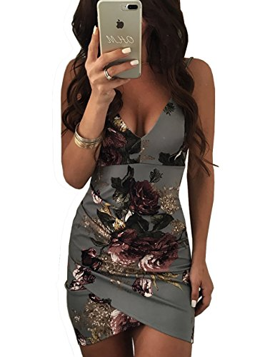 Ninimour Womens Spaghetti Strap Open Back Floral Print Bodycon Dress Gray L - Gray Floral Dress