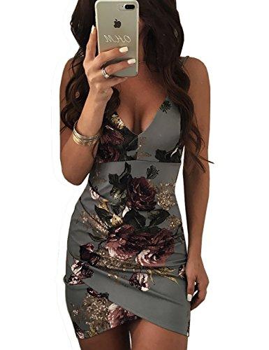 Ninimour Womens Spaghetti Strap Open Back Floral Print Bodycon Dress Gray S
