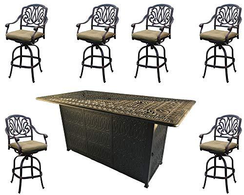 Sunvuepatio Fire pit dining table set outdoor propane heater Elisabeth bar stools cast aluminum ()