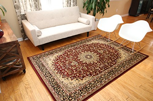 Area Rugs Persian Wool - Feraghan/New City Traditional Isfahan Wool Persian Area Rug, 8' x 10', Burgundy