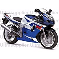 White Black w/ Blue Complete Injection Fairing for 2001-2003 Suzuki GSXR 600 750