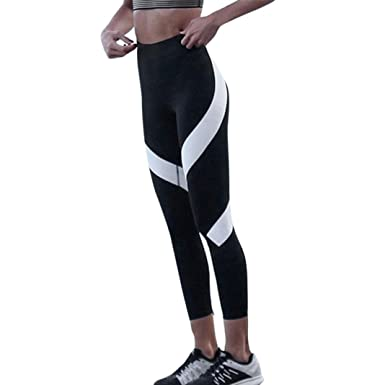 Mumuj Yogahosen Für Damen 3 4 Mode Weiße Streifen Eng Yogahosen Splice Yoga  Dünne Workout be317988ec