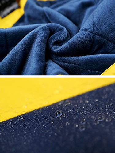 Wantdo Boy's Waterproof Quilted Ski Jacket Cotton Padded Coat Hooded Rainwear(Yellow+Dark Blue, 6/7) by Wantdo (Image #7)
