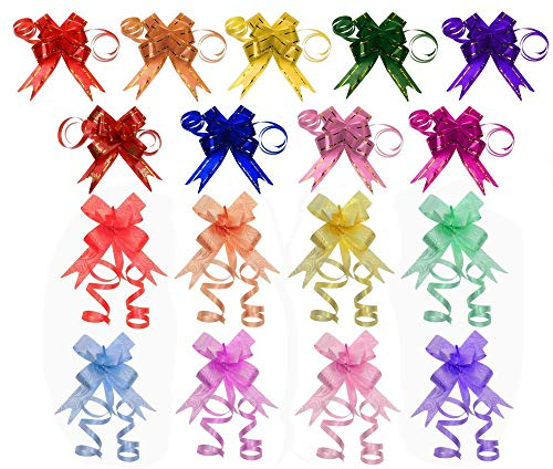 (Penta Angel 170Pcs 17 Colors String Bows Basket Gift Pull Bows Gift Knot Ribbon Present Wrapping Décor Bows for Birthday Wedding Christmas New Year Party Ornament, 1.8cm Width(17-Colors))