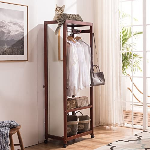 Tiny Times 67 Tall Free Standing Closet Wardrobe Bedroom Armoires with Full Length Dressing Floor Mirror,Brake Wheels,Hanger Rod,Coat Hooks,Entryway Storage Shelves Organizer-Solid Pine Wood,Brown