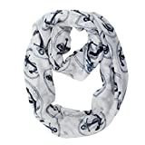 MissShorthair Lightweight Nautical Marine Anchor Print Infinity Scarfs for Women (1 White)