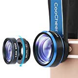 Coocheer Fisheye Camera Lens 198 Degree Clip 15x Macro Lens & 0.63x Wide Angle Lens 3 in 1 Kit Clip-On Cell Phone Camera Lenses for iPhone, Android,Tablets,Laptops-Blue