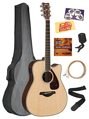 Yamaha FGX830C Acoustic-Electric Guitar Bundle with Gig Bag, Tuner, Strap, Instructional DVD, Strings, Picks, and Polishing Cloth - Natural