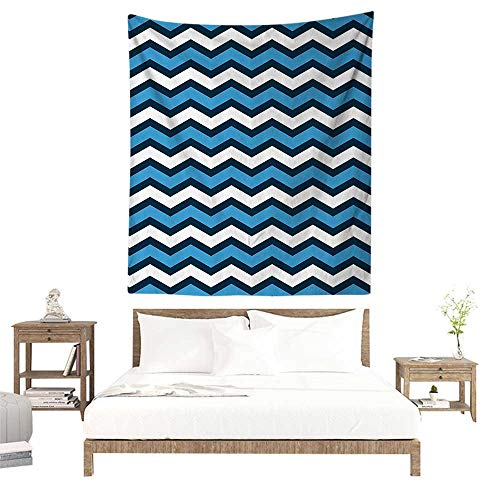 alisoso Wall Tapestries Hippie,Geometric Decor Collection,Chevron Pattern in Nautical Colors Geo Marine Ocean Zig Zag Parallel Stripes Art,Navy Bl W57 x L74 inch Tapestry Wallpaper Home Decor