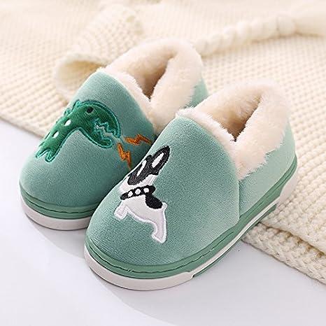 Aemember inverno gli amanti di pantofole di cotone borsa con i dinosauri, i bambini della famiglia una famiglia di tre antiscivolo per l'inverno,22 [Lunghezza interna 21cm],Gules