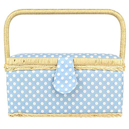 Fityle ファブリックのカバー 水玉模様 手持ち 縫製用具 ホルダー ジュエリー、服、おもちゃ収納 リムーバブル トレイ付 全4色 - 青の商品画像