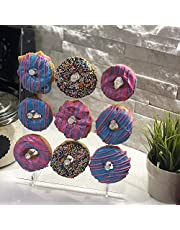 LANSCOERY Clear Acrylic Donut Wall Display Stand Doughnut Bagels Display Holder for Birthday, Wedding, Party, Baby Shower 9 Holes,Need Tear Off Protective Film