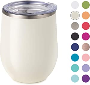 Maars Bev Stainless Steel Stemless Wine Glass Tumbler with Lid, Vacuum Insulated 12 ozCup   Spill Proof, Travel Friendly, Classic Cocktail Drinkware - Pearl