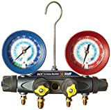 Yellow Jacket 46040 Brute II 4-Valve Manifold with Red/Blue Gauges, psi, R-22/134A/404A