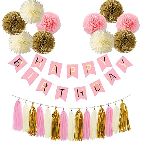 Pink and Gold Birthday Party Decorations Kit,Happy Birthday Party Supplies Set,Happy Birthday Banner,10 Tissue Pom Poms,15 Paper Tassels Paper Garland for Baby Shower, Kids Girls Birthday Home Decor