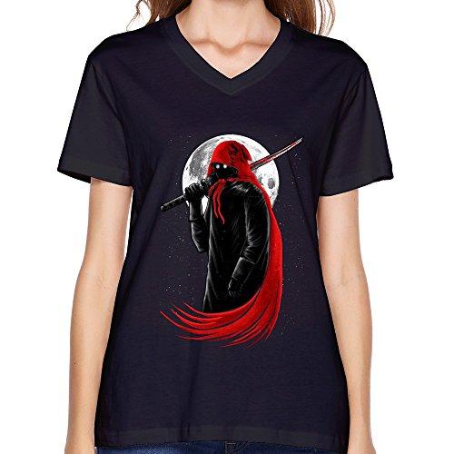 GLYCWH Women's Samurai Assassin T-Shirt Black US Size XL V Neck