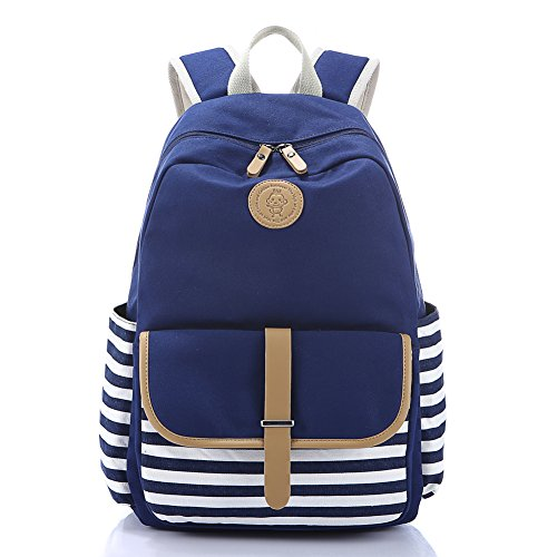 School Backpack, Aiduy Student Canvas Bookbag Lightweight Laptop Bag with Shoulder Bags and Pen Case for Teen Boys and Girls (Navy)